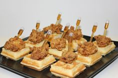 Fried Chicken and Waffle Bites served with a Maple Syrup Pipette Appetizers For Party, Appetizer Recipes, Bite Size Appetizers, Fried Chicken And Waffles, Brunch Wedding, Wedding Canapes, Cake Wedding, Birthday Brunch, Christmas Brunch