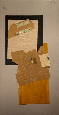 Robert Motherwell From Below, 1975,  acrylic, pasted canvas, and pasted papers on canvas mounted on board,  182.9 x 91.4 cms (72 x 36 ins),