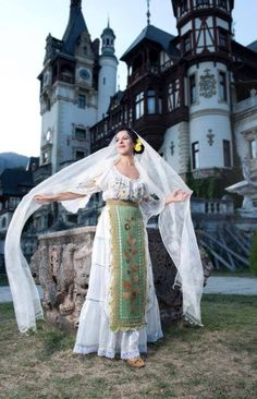 A beautiful shot of a traditional romanian costume in front of the Peles Castle. The costume belongs to Maria Dragomiroiu, one of the greatest Romanian Folk Singers. Folk Costume, Costumes, Romania People, Peles Castle, The Beautiful Country, Embroidery Dress, Eastern Europe, Historical Clothing, Fashion History