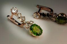 RARE Russian 2.5 ct + 2.5 ct Demantoid Earrings - Antique Jewelry | Vintage Rings | Faberge Eggs