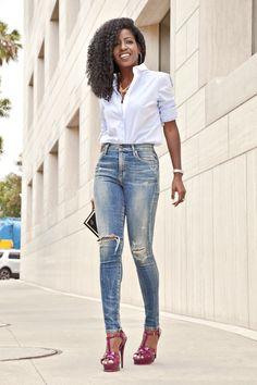 High Waist jeans. Button Down shirt http://FashionCognoscente.blogspot.com