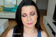 Glam  makeup look in purple and gold colors described in English and French for the Monday Shadow Challenge. Look de maquillage glamour en couleurs violet et doré pour le Défi du lundi.