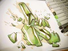 Copic Broken Bottle Sketch