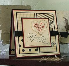 Stamps: I {Heart} Hearts & Word Play  Paper: Cherry Cobbler, Basic Black and Very Vanilla Cardstock; Love Letter DSP  Ink: Jet Black Stazon & Tea Dye Distress Ink  Accessories: Paper Piercer & Mat Pack, Black Satin Ribbon and Linen Thread