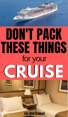If you're going on a cruise, you want to be prepared and pack all the right things. However there are some things you ust don't need, or even, can't bring on a cruise vacation. Here are the tips for what not to pack to bring on your cruse. Packing List For Cruise, Cruise Travel, Cruise Vacation, Packing Lists, Cruise Checklist, Honeymoon Cruise, Disney Cruise Tips, Europe Packing, Traveling Europe