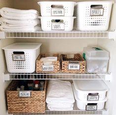 How to create the perfectly organized bathroom closet | Before and after | Bathroom closet organization ideas #tidyup #bathroomcloset #bathroomclosetorganization #organization #declutterideas #tidyingup #DIY