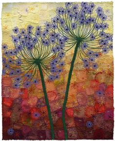 derangedbutterfly:  Autumn Allium Duo by Kirsten Chursinoff on Flickr. Via Flickr: Allium flowers embroidered by machine. Black beads sewn by hand. On a background of well over a hundred different fabrics. These are some of my favourite colours to work with and it always makes me happy to have piles of colour surrounding me as I work at my desk.