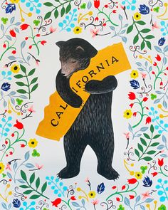 """""""I Love You California"""" Floral Print by local artist Annie Galvin at 3 Fish Studios in San Francisco, California. Printed on-site with 8-color UltraChrome K3™ inks on 300gsm Hot Press Bright paper. Archival, highest possible quality."""