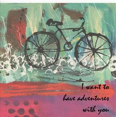 Valentines Day card  bicycle with red and turquoise  I by JillsJoy,