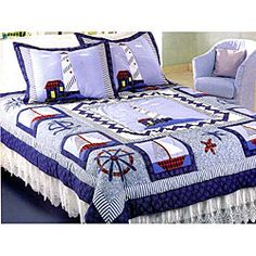 @Overstock - New Lighthouse patchwork quilt set delivers a distinctly coastal mood to your bedroomQuilt set is a great addition to your bedding, handcrafted in find detailNew lighthouse quilt is festooned with nautical iconographyhttp://www.overstock.com/Bedding-Bath/New-Lighthouse-Patchwork-Quilt-Set/3458991/product.html?CID=214117 $66.99