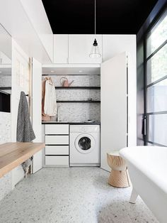 If space is at a premium, then consider the trend of a small European laundry. With European laundry ideas, inspiration & design tips, we will ensure you are on the right path for an efficient small modern laundry. Concealed Laundry, Hidden Laundry, Small Laundry, Laundry Bathroom Combo, Laundry Cupboard, Small Bathroom, Laundry Closet, Bathroom Ideas, Laundry Rooms
