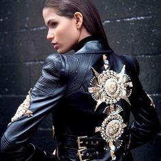 Sofiaz Choice: Fausto Puglisi Embroidered Nappa Leather Biker Jacket