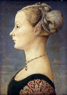 Piero del Pollaiuolo (1443-1496), Portret van een jonge vrouw,ca. 1470, tempera en olieverfop paneel, 45.5 x 32.7 cm, Museo Poldi Pezzoli, Milaan http://www.artsalonholland.nl/kunst-encyclopedie/het-portret