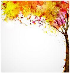 Autumn watercolor tree vector material 03