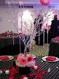 Hot pink, black and silver wedding