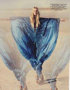 Light blond hippie/boho girl with headpiece/headwrap in blue ombre caftan--Cochella