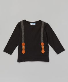 Look at this Feathers USA Black Suspender Tee - Infant, Toddler