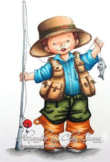 *ClayGuana: Birthday Boys - First Fish (Mo Manning image) e image is colored with the following Copics: Skin : E0000, E00, E21, E11, E13, T1, R20 Hat + Jacket: E57, E55, E53, E51 Hair: E18, E13, T1 Trousers: YG99, YG97, YG95, YG93, YG91                T3, T2, T1 Fishing Rod: C5, C3, C1 Shirt: B18, B16, B14, B12 Boots: YR24, YR23, YR21, YR20, Y35             T3, T1