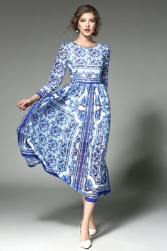 A-line Crewneck Long Sleeve Blue & White Printed Midi Dress