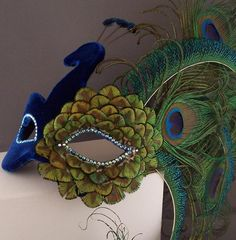Velvet Peacock for Mardi Gras! Peacock Mask, Peacock Costume, Peacock Dress, Peacock Colors, Peacock Feathers, Mardi Gras, Masquerade Party, Masquerade Masks, Bird Masks