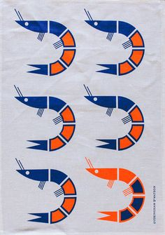 E Prawn tastic tea towel (Royal blue and neon orange on White linen)