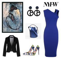 """""""NYFW - Blue Masterpiece (contest entry)"""" by scolab ❤ liked on Polyvore featuring Victoria Beckham, Dsquared2 and Giorgio Armani"""