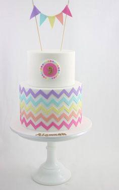 rainbow chevron bunting cake Fondant Cakes, Cupcake Cakes, Cupcakes, Chevron Cakes, Birthday Ideas, Birthday Cake, Rainbow Chevron, Girl Cakes, Sweet Cakes