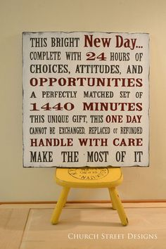 This Bright New Day Quote Hand Painted Sign by ChurchStDesigns