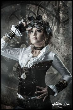 Steampunk style ~ great photo. great pose. great corset. beautiful girl. not necessarily in that order