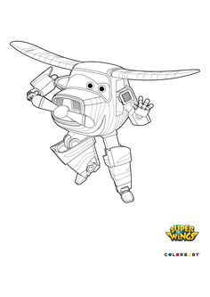 Coloriage Paul en mode avion - Coloriage Super Wings - Coloriage ...