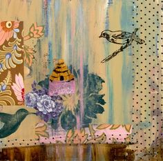 """Birds and Beehive"" Custom Canvas Art by Jennifer Kiraly for GreenBox Art + Culture size 14x14 $69"