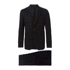 TAGLIATORE 0205 Checked Two Piece Suit ($508) ❤ liked on Polyvore featuring men's fashion, men's clothing, men's suits, black, mens slim suits, mens slim fit suits, mens 3 button suits and mens two piece suits