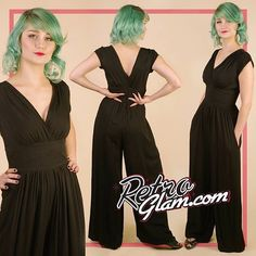 The glorious Trashy Diva Hepburn Jumpsuit is in stock now in limited quantities! A great alternative to a holiday dress! Super comfortable and elegant <3 #trashydiva #retroglam #retroglamclothing #pinup