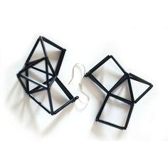 Long Geometric Earrings Handmade with Black Beads