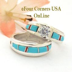 Size 5 Turquoise Red Coral Engagement Bridal Wedding Ring Set Native American Wilbert Muskett Jr Four Corners USA OnLine Navajo Silver Jewelry Engagement Wedding Ring Sets, Engagement Ring Settings, Wedding Sets, Wedding Ring Bands, Wedding Jewelry, Native American Wedding, Native American Rings, American Indian Jewelry, Alternative Wedding Rings
