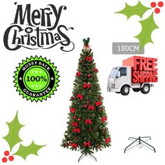 1.8M 180cm Metal Frame Xmas Christmas Tree with Ornaments - Green 630 tips