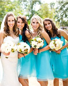 WeddingChannel Galleries: Bright Blue Bridesmaid Dresses