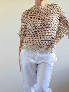 Mis Pasatiempos Amo el Crochet: Blusa murciélago de motivos