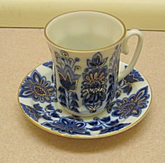 Lomonosov Russian Demitasse Cup and Saucer. Please click on the image for more information.