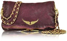 Zadig & Voltaire  Rock Deep Dye Lilas Leather Foldable Clutch