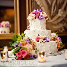 White Pound Wedding Cake w/ Multi-Colored Roses
