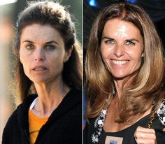 Maria Shriver...With & Without Makeup...See all we need is our hair fixed, good foundation, & some eye makeup...poof, we are celebrities...LOL #makeup #celebrities