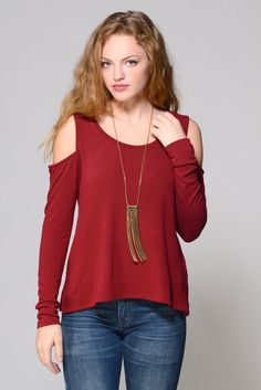 Matty M. Cold Shoulder Scoop Neck Top in WINE