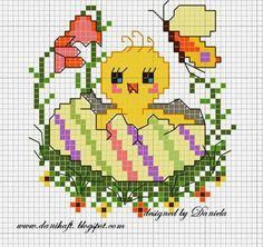 haft+krzy%C5%BCykowy+wielkanoc+-+kurczak.cross+stitch+hart.jpg (507×477)