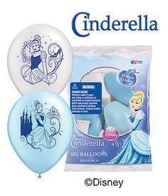 "6 pc 12"" Cinderella Disney Princess Party Latex Balloons Happy Birthday Blue"