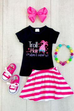 """Troll Hair Don't Care"" Pink Stripe Skirt Set"