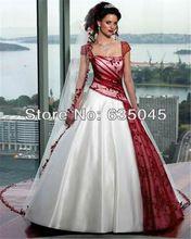 Wedding Gowns Custom Made Satin Ivory/White and Burgundy Applique A-Line Lace Wedding Dress Vestidos De Noiva Bride Dress(China (Mainland))