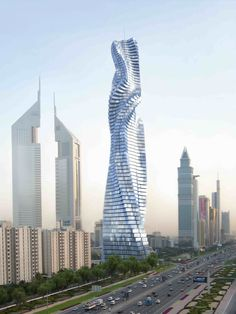 Rotating Tower, Dubai, UAE-   Each floor will be able to rotate independently. This will result in a constantly changing shape of the tower. Each floor will rotate a maximum of 6 metres (20 ft) per minute, or one full rotation in 90 minutes.