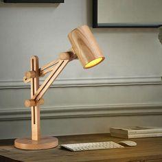 Wooden Desk Lamp, Adjustable Desk, Bedroom Lamps, Unique Lamps, Lighting Design, Woodworking, Hanging Lamps, Floor Lamps, Beauty Care