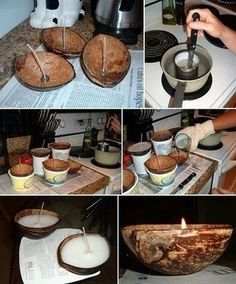 Making Coconut Shell Candle in 3 Simple Steps Homemade Candles, Diy Candles, Soy Wax Candles, Coconut Candles, Coconut Shell Crafts, Deco Nature, Coconut Bowl, Creation Deco, Driftwood Crafts